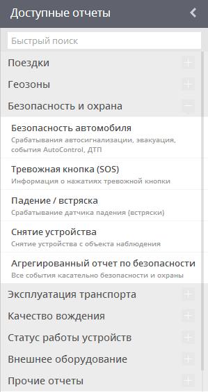 Доступные отчеты