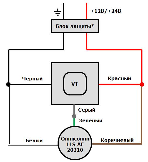 Схема подключения аналогового ДУТ Omnicomm LLS AF 20310 к терминалам ГдеМои A5