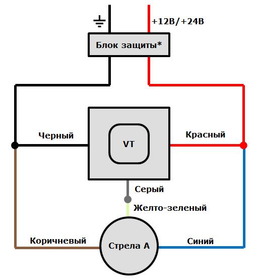 Схема подключения ДУТ Стрела A к терминалам ГдеМои A5 через аналоговый вход (на схеме показано подключение к входу №2 терминала)