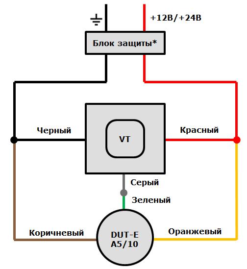 Схема подключения ДУТ Технотон DUT-E A5 и Технотон DUT-E A10 к терминалам ГдеМои A5 и ГдеМои A8 через аналоговый вход