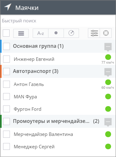 Вид списка объектов