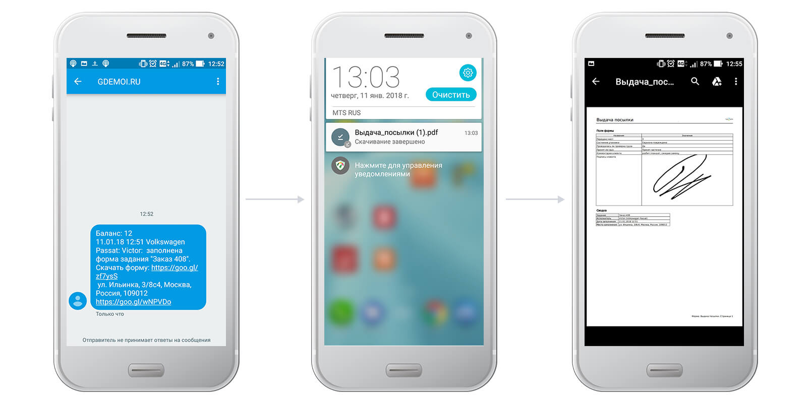 Информацию о заполненной форме можно получать на e-mail или по SMS
