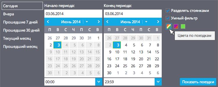 Система позволяет отобразить список поездок за разные периоды
