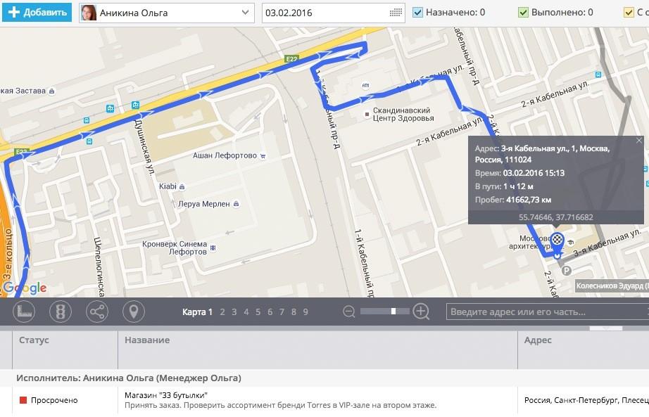 Сотрудники на карте – контролируются по GPS